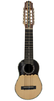 Concert charango with jacaranda wood, ebony diapason and abalone incursions.