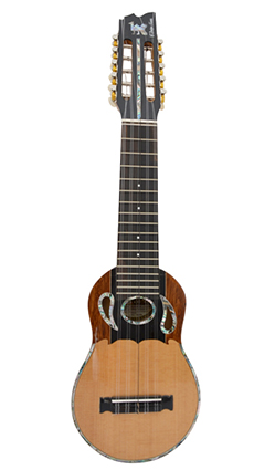 Concert charango with naranjillo wood, ebony diapason and abalone inlays in the form of drops of water.