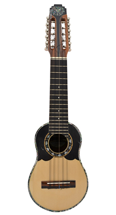 Concert charango with jacaranda wood, ebony diapason and abalone incrustations around the mouth.