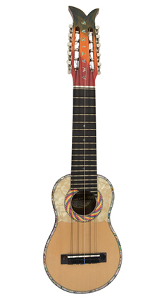 Concert charango with jacaranda wood, ebony diapason and abalone inlays and the design of the whipala flag in the mouth.