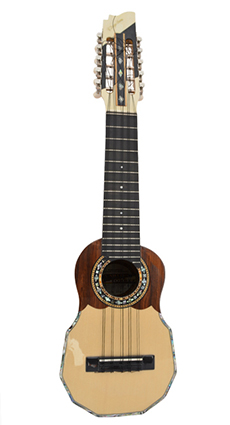 Concert charango with naranjillo wood, ebony diapason and abalone inlays around the mouth and on the edges of the instrument.